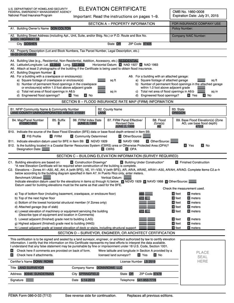 Floor Elevation Certificate : May